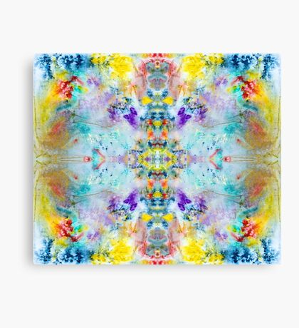 Eye catching vibrant colorful abstract symmetrical ink design pattern Canvas Print