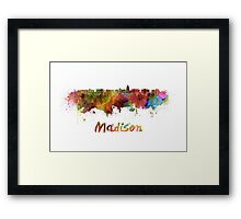 Madison skyline in watercolor Framed Print