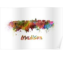 Madison skyline in watercolor Poster