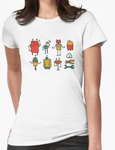 Retro robots Womens Fitted T-Shirt