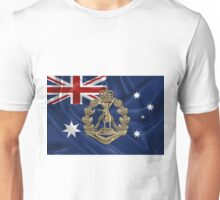 Royal Australian Regiment   -  RAR  Badge over Australian Flag Unisex T-Shirt