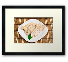 Baked chicken breast sliced on a white plate Framed Print