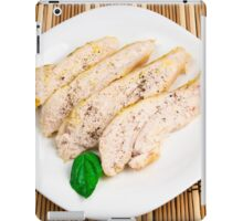 Baked chicken breast sliced on a white plate iPad Case/Skin