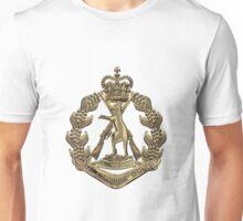 Royal Australian Regiment   -  RAR  Badge over White Leather Unisex T-Shirt