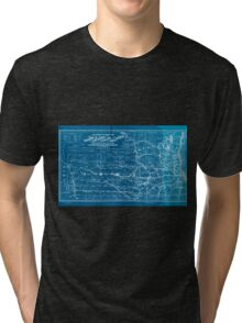 0266 Railroad Maps Map showing the location of the Galena Chicago Union Railroad with its branches connections in Illinois Wisconsin Iowa and Inverted Tri-blend T-Shirt