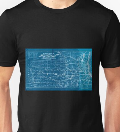 0266 Railroad Maps Map showing the location of the Galena Chicago Union Railroad with its branches connections in Illinois Wisconsin Iowa and Inverted Unisex T-Shirt