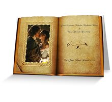 Outlander Wedding/Jamie & Claire in open book Greeting Card