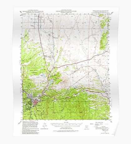 USGS TOPO Map Arizona AZ Prescott 314927 1947 62500 Poster
