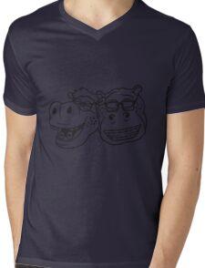 kopf gesicht nerd team freunde duo geek hornbrille schlau klug pickel freak zahspange lustig nilpferd dick groß comic cartoon  Mens V-Neck T-Shirt