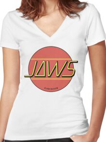 JAWS Band Logo Women's Fitted V-Neck T-Shirt