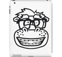 kopf gesicht nerd geek schlau hornbrille freak dumm zahnspange kleines lustiges süßes niedliches dickes comic cartoon nilpferd fett hippo  iPad Case/Skin