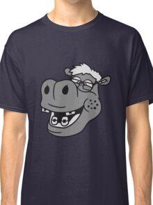 kopf gesicht nerd geek schlau freak dumm pickel zahnspange hornbrille lustig kleines süßes niedliches baby kind nilpferd glücklich  Classic T-Shirt