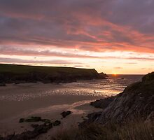 Sunset at Porth Joke Beach by John Dunbar