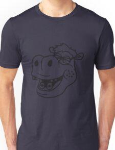 kopf gesicht nerd geek schlau freak dumm pickel zahnspange hornbrille lustig kleines süßes niedliches baby kind nilpferd glücklich  Unisex T-Shirt