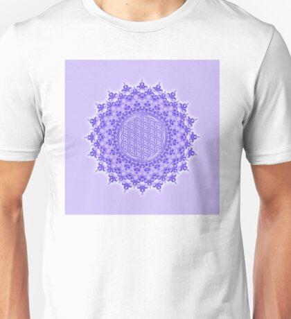 Symbol FLOWER OF LIFE Fractal Mandala Violet Purple Unisex T-Shirt