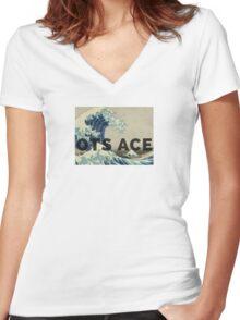 OTS ACE MUSIC MERCH  Women's Fitted V-Neck T-Shirt