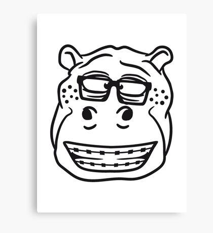 kopf gesicht nerd geek hornbrille schlau klug pickel freak zahspange lustig nilpferd dick groß comic cartoon  Canvas Print