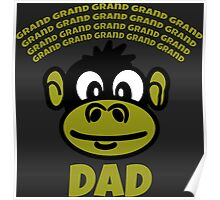 Funny Dad or Grandad Gift Cartoon Monkey Funny Text T-Shirt  Poster
