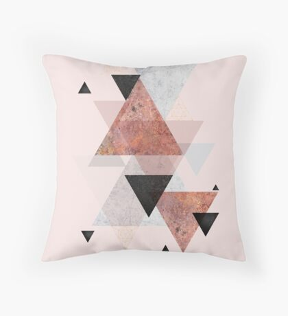 Geometric Arrangement in Blush, Rose Gold and Black Throw Pillow