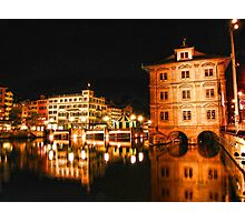 Night, Zurich, Switzerland. Photographic Print
