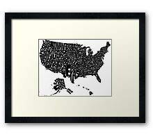USA States Black Framed Print