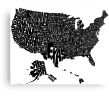 USA States Black Canvas Print