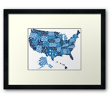 USA States Blue Framed Print