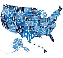 USA States Blue Photographic Print