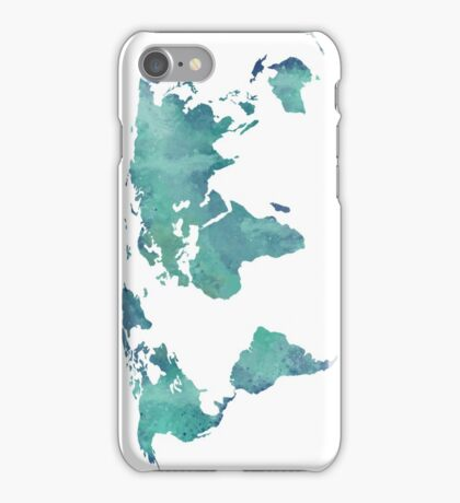 Watercolor map in turquoise  iPhone Case/Skin