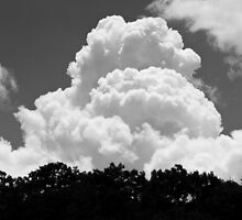 Black And white Sky With Building Thunderhead Storm Clouds by KWJphotoart