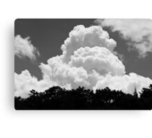 Black And white Sky With Building Thunderhead Storm Clouds Canvas Print