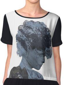 Woman Thinking of a Snowy Mountain Chiffon Top