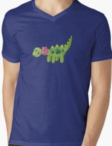 Pink ribbon Dino Mens V-Neck T-Shirt