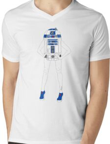 Girl Robot Pattern Mens V-Neck T-Shirt