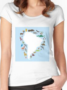 South America White Map with Animals Women's Fitted Scoop T-Shirt
