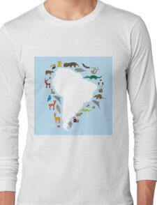 South America White Map with Animals Long Sleeve T-Shirt