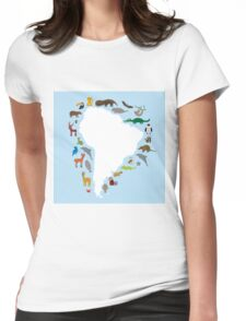South America White Map with Animals Womens Fitted T-Shirt