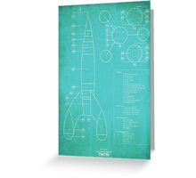 Tintin Moon Rocket Blue Print Greeting Card