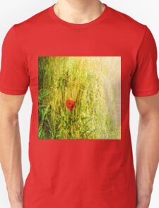 Red Poppy in Green Grassy Summer Meadow Unisex T-Shirt