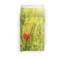 Red Poppy in Green Grassy Summer Meadow Duvet Cover