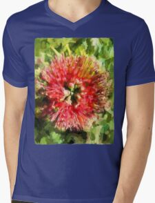 Surreal Red Flower Mens V-Neck T-Shirt