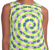 Spirals and cubes in yellow and blue Contrast Tank