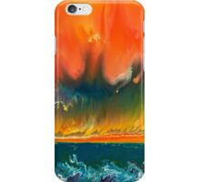 Sunset on fire over the rough blue sea iPhone Case/Skin