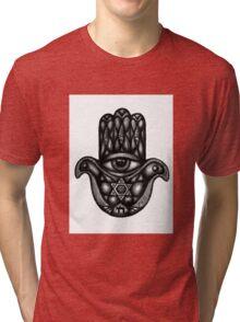 Jewish hand Hamsa ink drawing Tri-blend T-Shirt