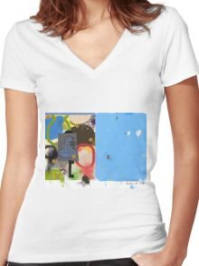 Abstract talk 003 Women's Fitted V-Neck T-Shirt