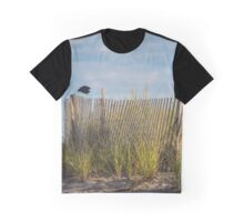 Corvus Brachyrhynchos - American Crow Jumping Of The Sand Fence | Hampton Bays, New York Graphic T-Shirt