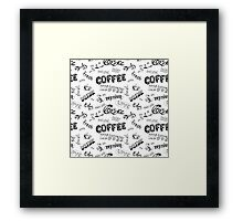 Seamless doodle coffee pattern Framed Print