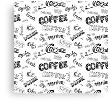 Seamless doodle coffee pattern Canvas Print
