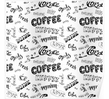 Seamless doodle coffee pattern Poster