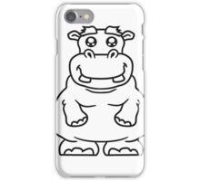 kleines lustiges süßes niedliches dickes comic cartoon nilpferd fett hippo  iPhone Case/Skin